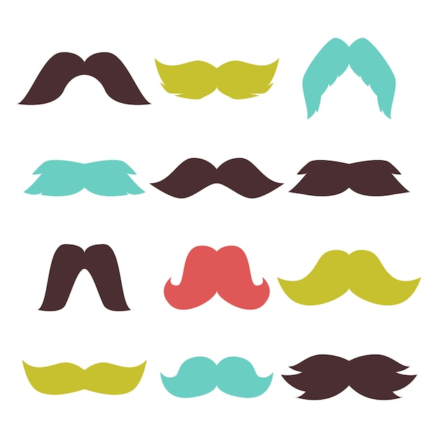 Face accessory party mustache hipster beard vector Premium Vector