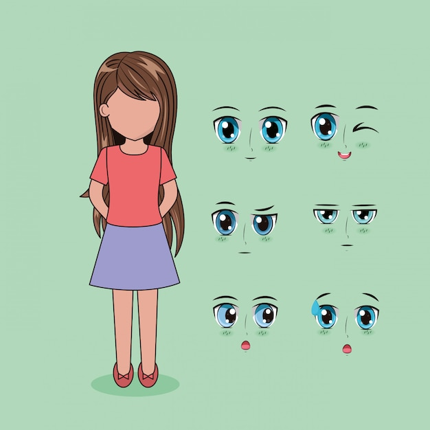 Face anime people Free Vector
