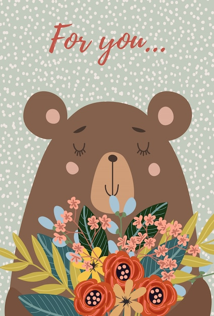 Face bear with bouquet of flowers Premium Vector