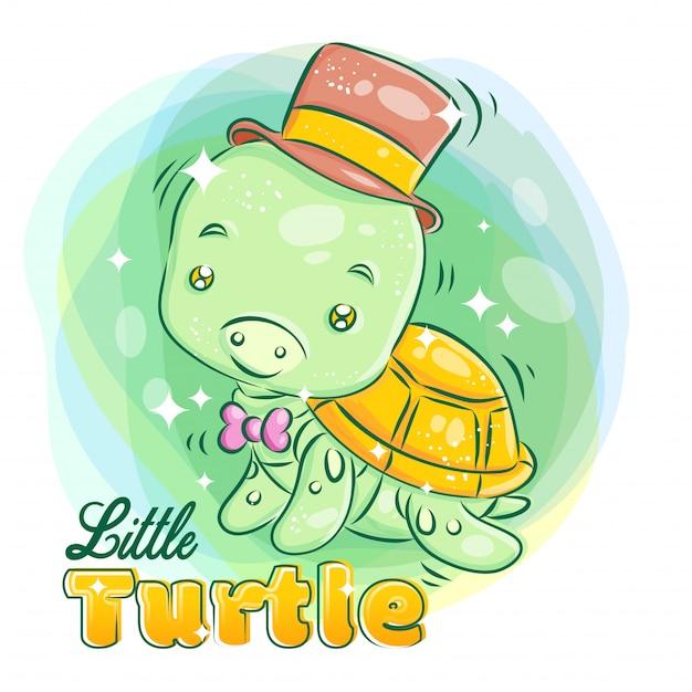 Милая маленькая черепаха носить шляпу и ленты с улыбкой face.colorful иллюстрации шаржа. Premium векторы