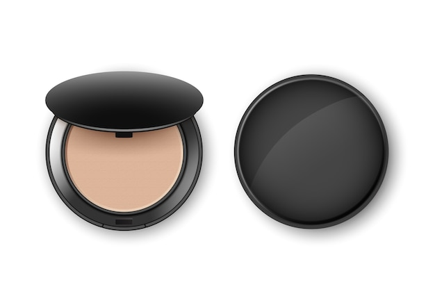 Face cosmetic makeup powder in black round plastic case top view isolated Premium Vector