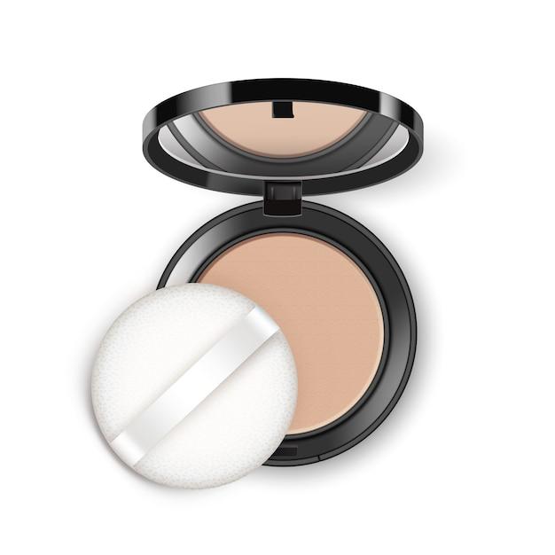 Face cosmetic makeup powder in black round plastic case Premium Vector