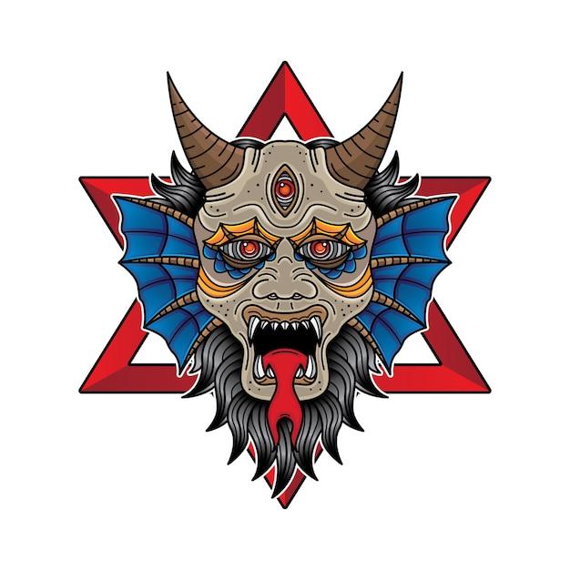 Face devil flash tattoo design Premium Vector