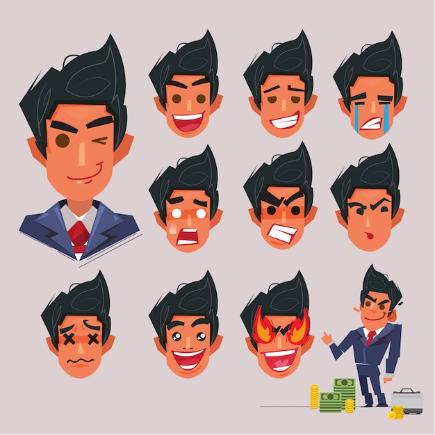Face emotional of businessman. character design Premium Vector