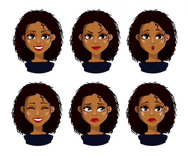 Face expressions of african american woman with dark hair Premium Vector