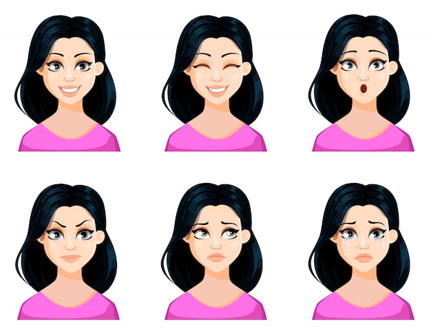 Face expressions of beautiful woman with dark hair Premium Vector