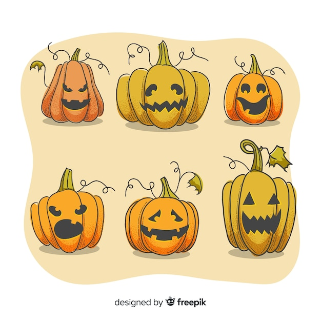 Face expressions on halloween pumpkin collection Free Vector