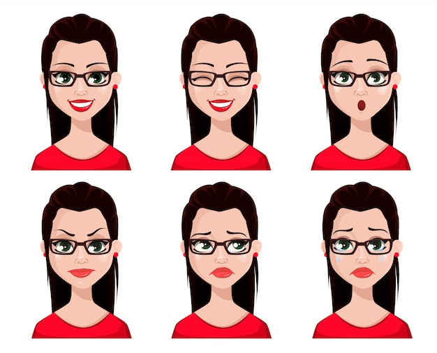 Face expressions of sexy secretary Premium Vector