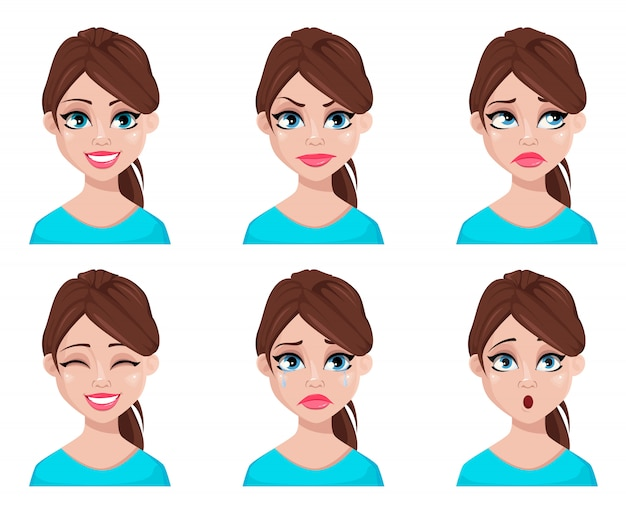 Face expressions of woman in blue blouse Premium Vector