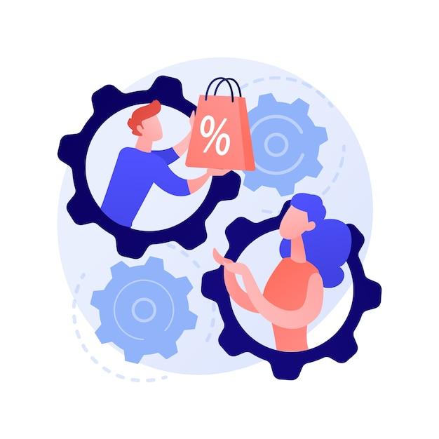 Metodo di vendita faccia a faccia. shopping personalizzato, assistente alle vendite e cooperazione con gli acquirenti, promozione delle vendite. strategia di marketing personalizzata. Vettore gratuito