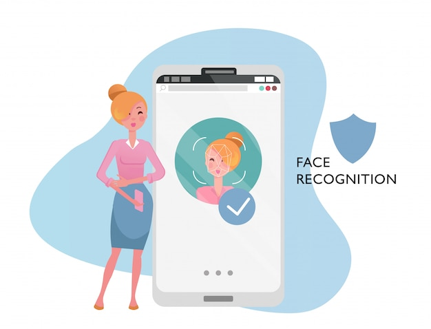 Face id concept  woman with mobile phone, female face on big