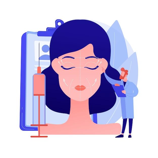 Illustrazione di vettore di concetto astratto di sollevamento del viso. procedura di ritidectomia, chirurgia di lifting facciale, servizio di lifting facciale, trattamento antietà non chirurgico, metafora astratta di ringiovanimento della pelle del viso. Vettore gratuito