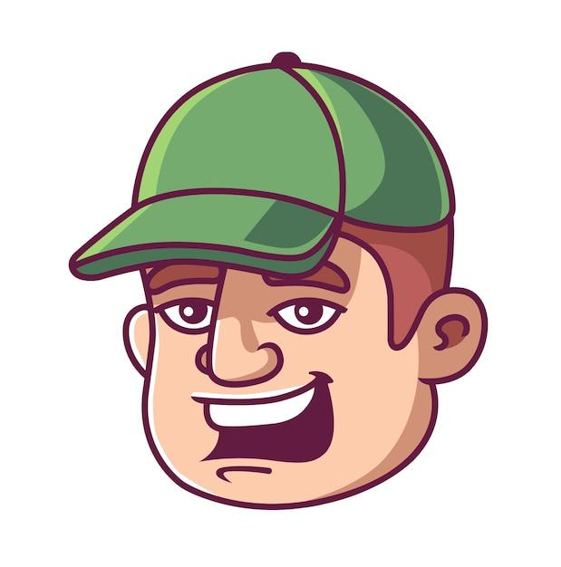 The face of a man in a green cap. man smiles. Premium Vector