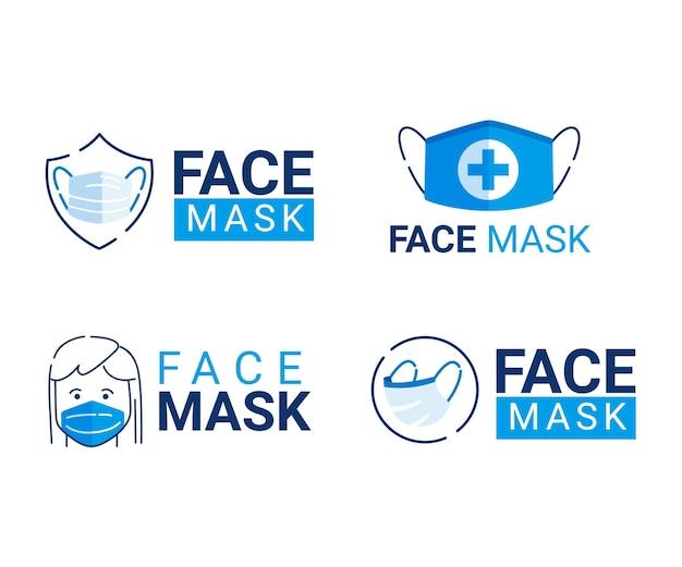 Face mask logo collection Free Vector