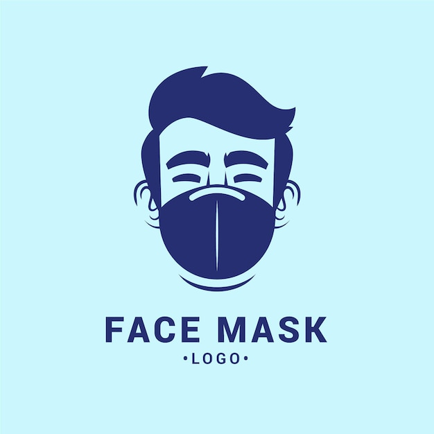 Face mask logo template Premium Vector