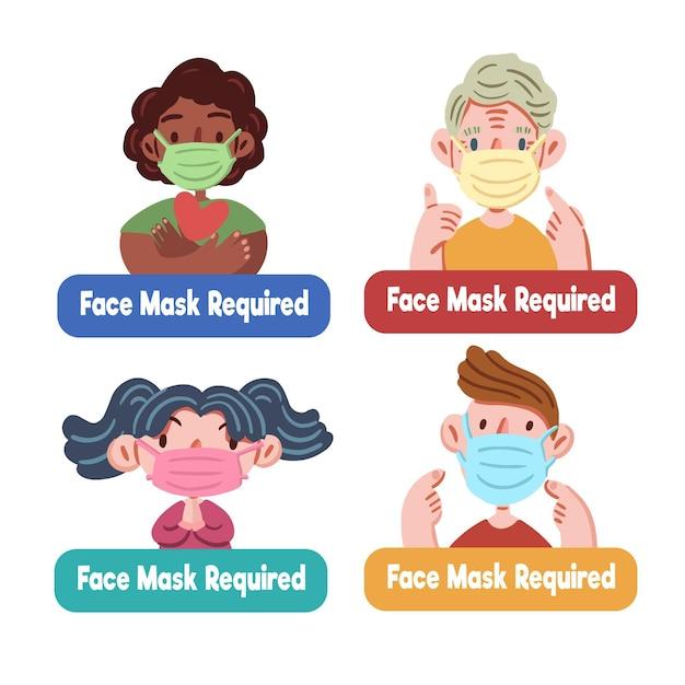Pacchetto richiesto maschera facciale Vettore gratuito