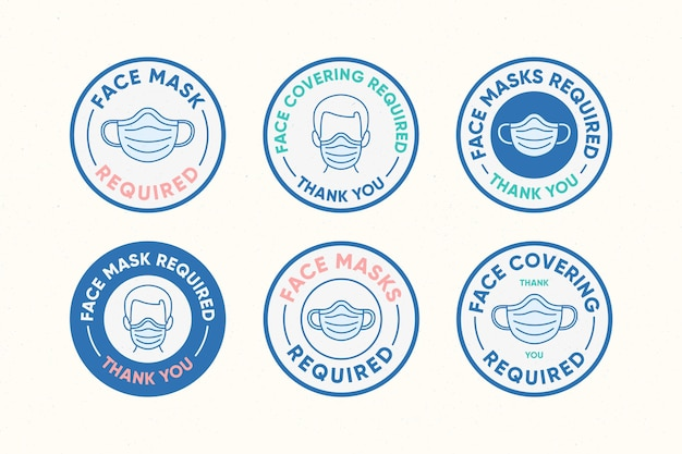 Face mask required - sign collection Premium Vector