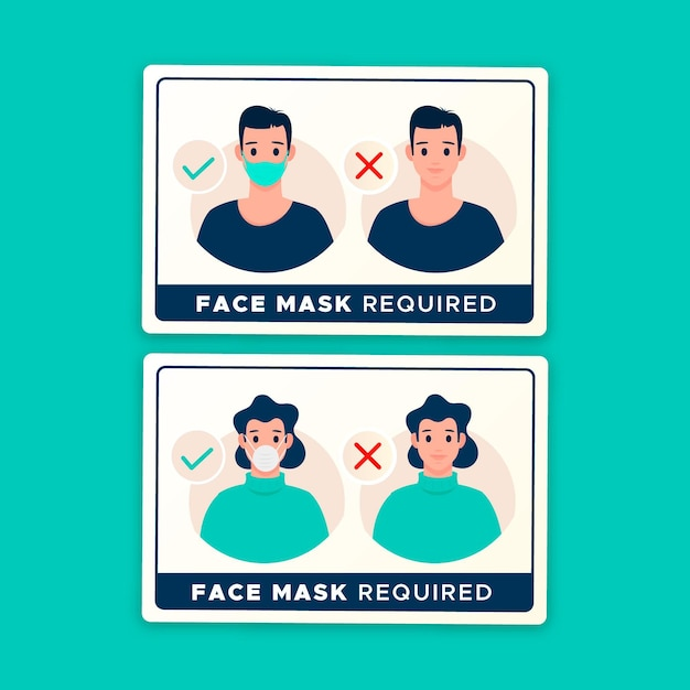 Face mask required - sign collection Free Vector