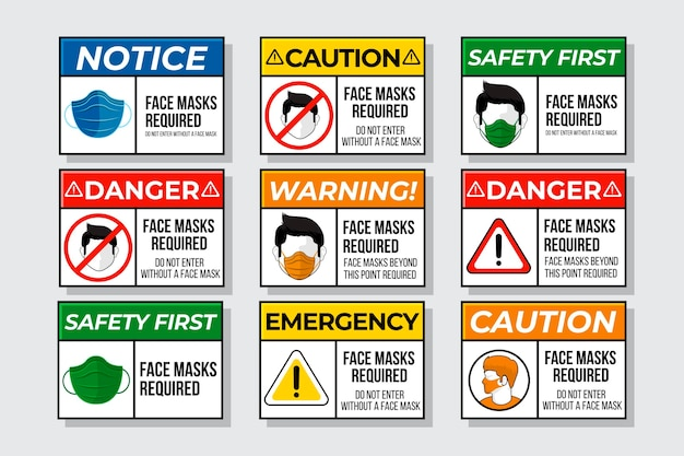 Face mask required sign collection Free Vector