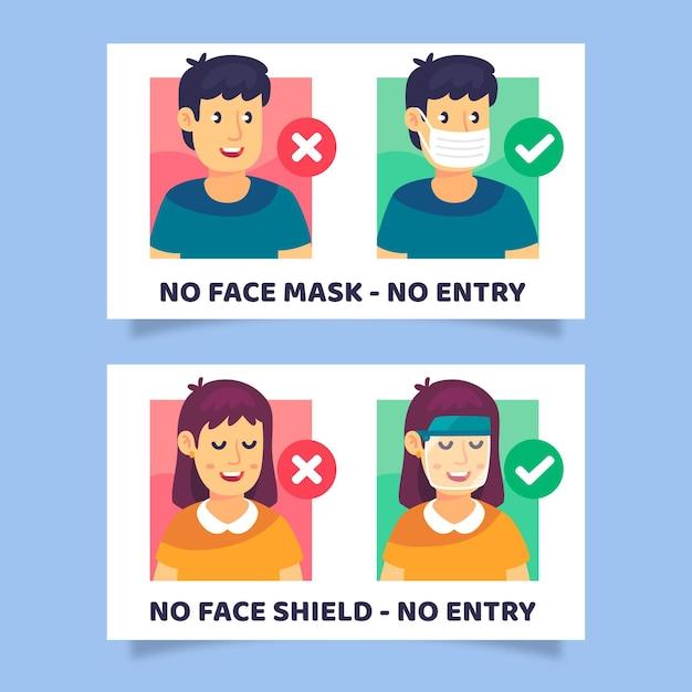 Maschera facciale richiesta - raccolta segni Vettore gratuito