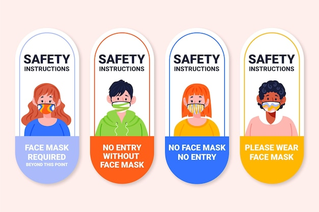 Face mask required sign set Free Vector