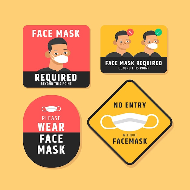 Set di segni richiesti maschera facciale Vettore gratuito