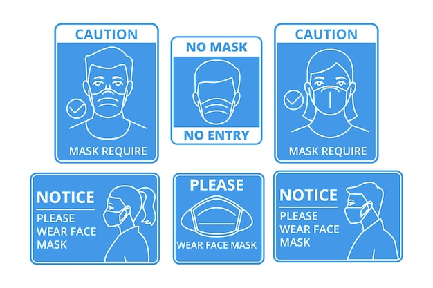 Face mask required signs Premium Vector