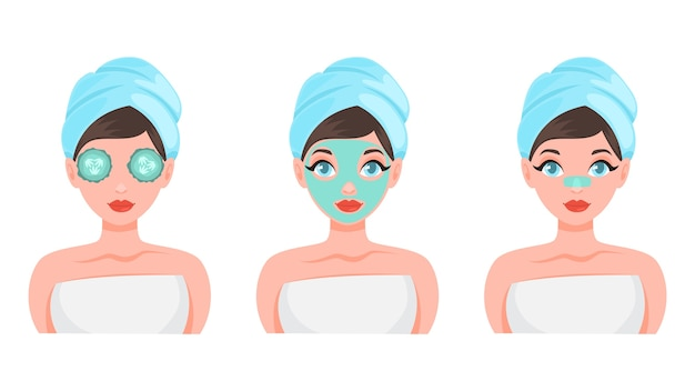 Face mask set. collection of woman with different Premium Vector