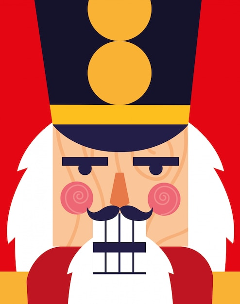 Face of nutcracker soldier toy icon Premium Vector