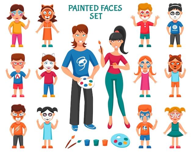 Набор краски для лица для детей Бесплатные векторы