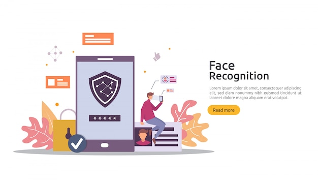 Face Recognition Data Security Design Facial Biometric Identification System Scanning On Smartphone Web Landing Page Template Banner Presentation Promotion Or Print Media Premium Vector