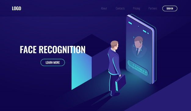 Face recognition, isometric icon, man look into the phone camera, biometric technology Free Vector