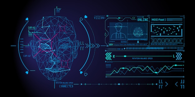 Face recognition system concept with low polygon human face scanning. Premium Vector