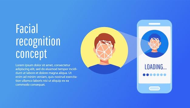 Face recognition technology concept Premium Vector