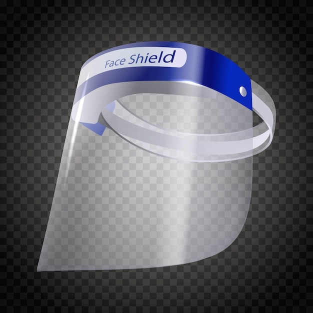 Face shield mask protector. isolated on white Premium Vector
