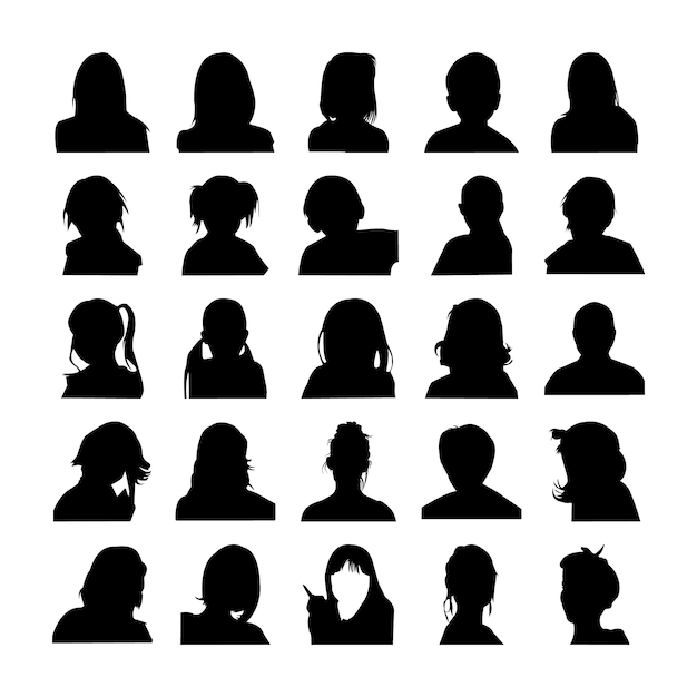 Face silhouettes set pictogram Premium Vector