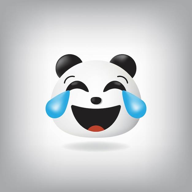 涙のある顔ジョイパンダ絵文字 Premiumベクター