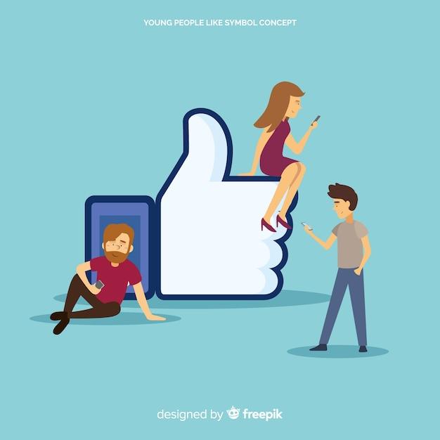 Facebookが好きです。ソーシャルメディア上の10代の若者。キャラクターデザイン 無料ベクター