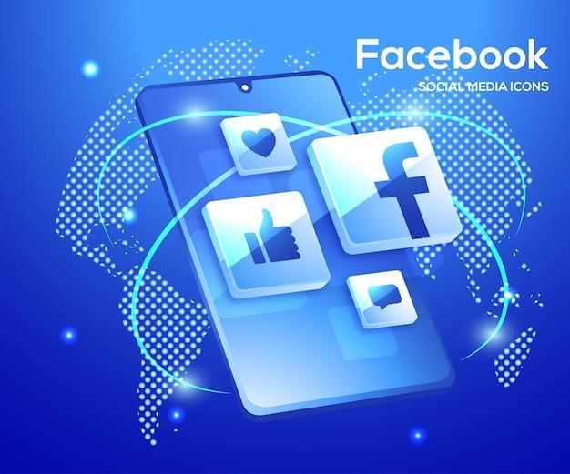 スマートフォンのシンボルとfacebookの3dソーシャルメディアアイコン Premiumベクター