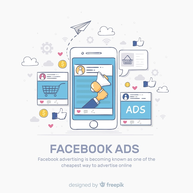 Facebook ads background Free Vector