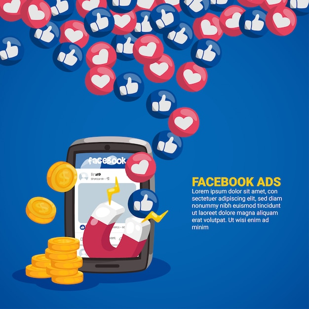 Facebook ads concept with magnet and emoticons Premium Vector