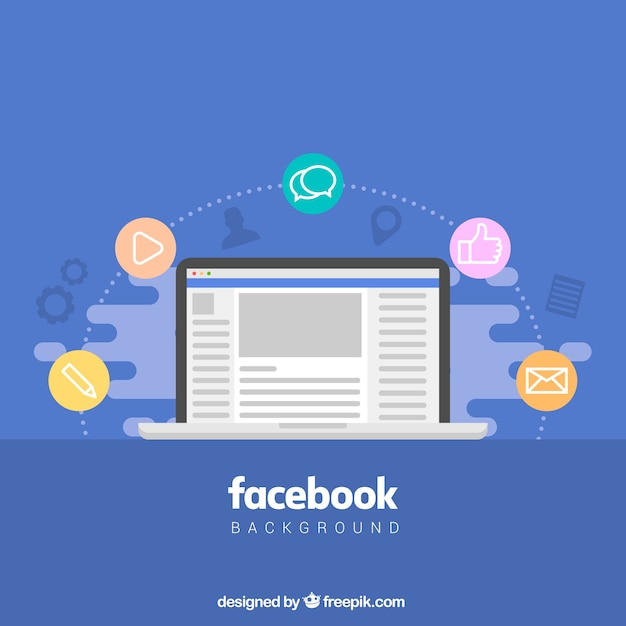 Facebook background in flat design Vector Free Download