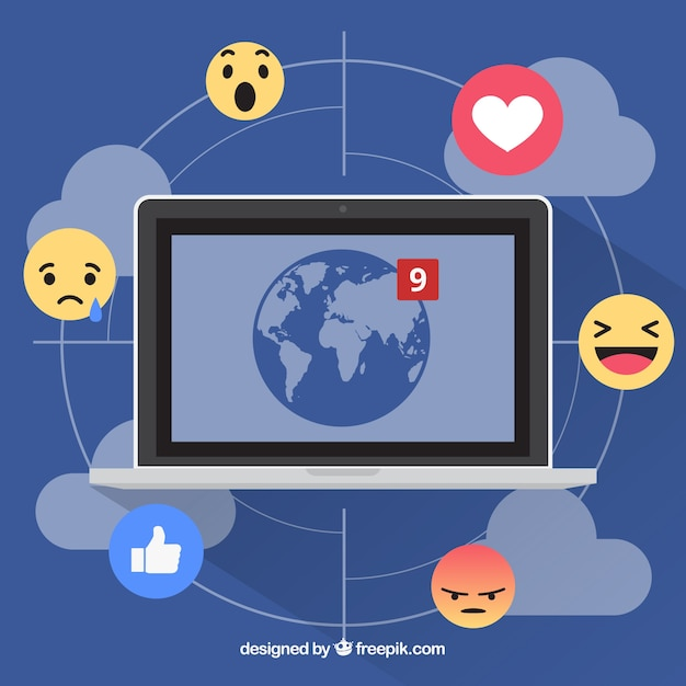 Facebook background with computer and emoticons Free Vector