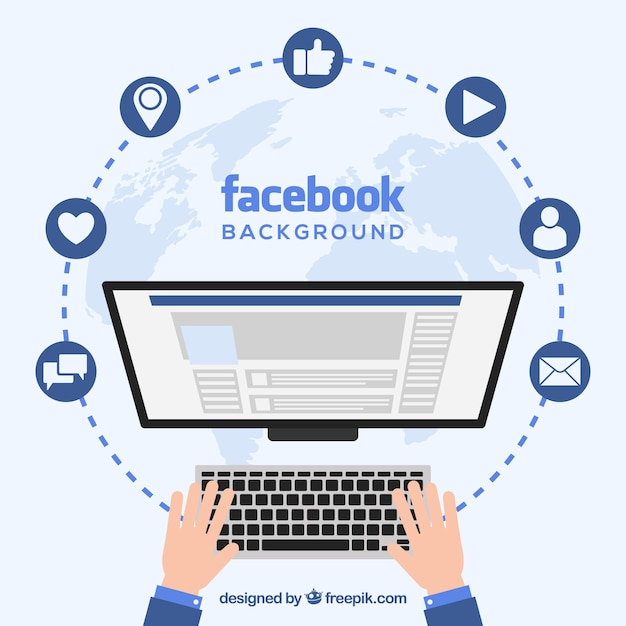 Facebook background with computer screen Free Vector