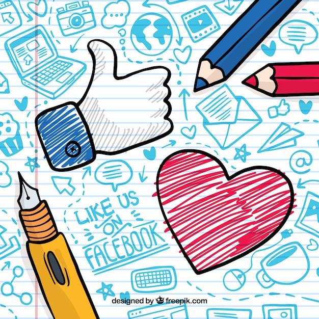 Facebook фон с сердцем и как значок Бесплатные векторы