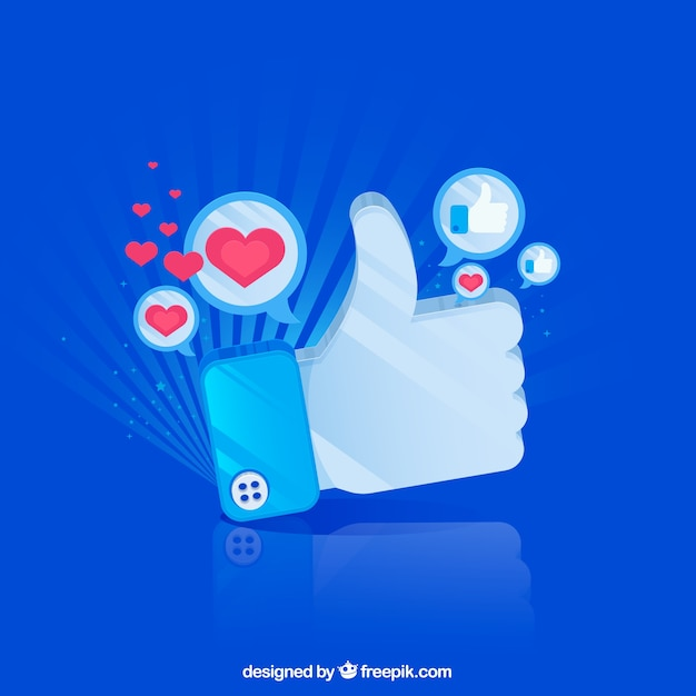 Facebook background with heart and like icons Free Vector