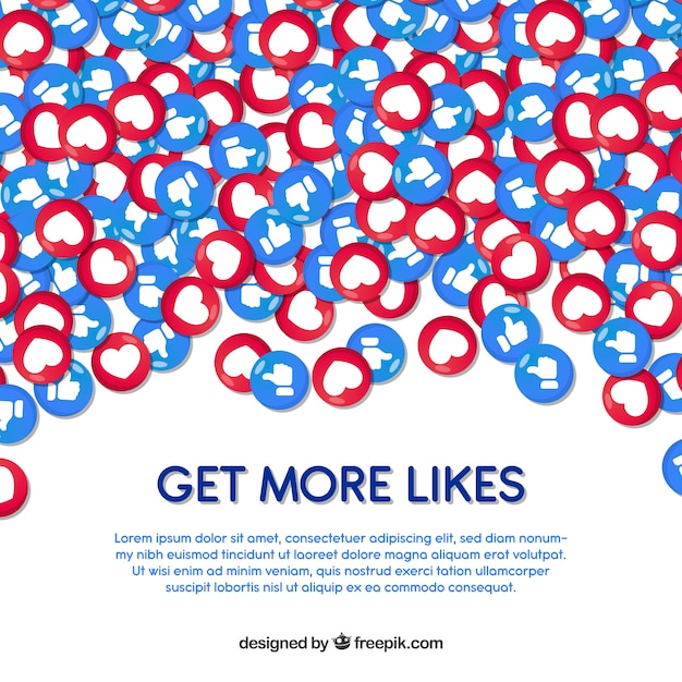 Facebook background with hearts and likes Vector | Free Download