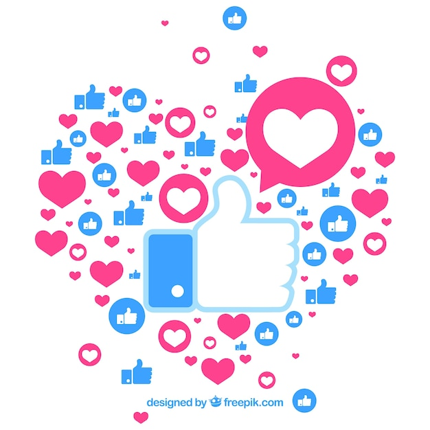 Facebook background with hearts and likes Free Vector