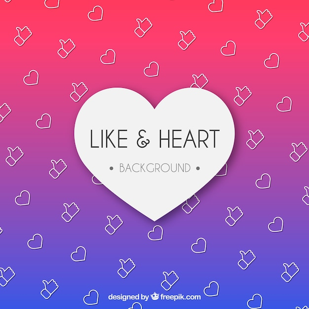Facebook Background With Like And Heart Icons Vector Free Download