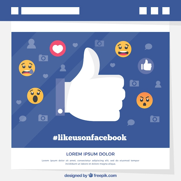 Facebook background with like icon Free Vector
